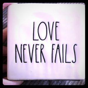 """Rae Dunn """"Love Never Fails"""" Decor"""